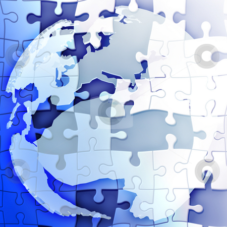 Map of Europe jigsaw stock photo, Map of the Europe and africa globe with jigsaw by Kheng Guan Toh