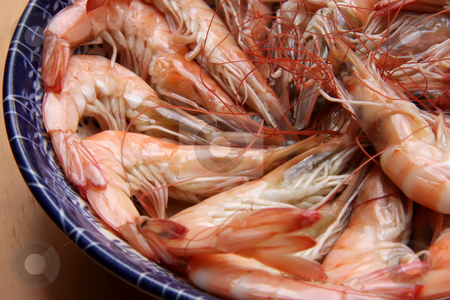 Cooked prawn stock photo, Whole fresh cooked prawns in shell unpeeled by Kheng Guan Toh
