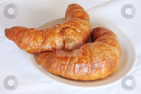 Fresh croissants stock photo, Freshly baked croissant french pastry bread on white plate by Kheng Guan Toh