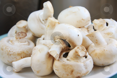 Fresh whole button mushrooms stock photo, Whole round fresh raw button mushrooms in pile by Kheng Guan Toh
