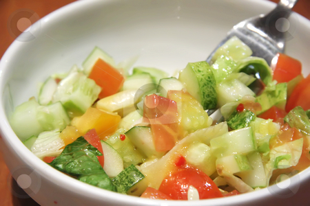 Fresh salad stock photo, Fresh chopped mixed vegetable salad with tomatoes by Kheng Guan Toh