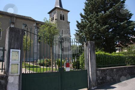 Country church stock photo, European country church fence and garden graveyard by Kheng Guan Toh