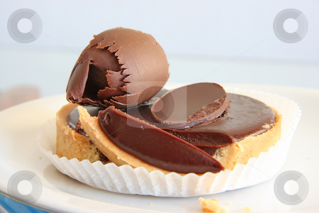 Dark chocolate torte stock photo, Dark chocolate torte sweet pastry dessert tart with ganache by Kheng Guan Toh