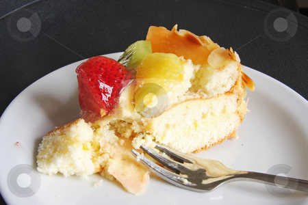 Cream cake with fruits stock photo, Cream chiffon cake with fruits and icing by Kheng Guan Toh