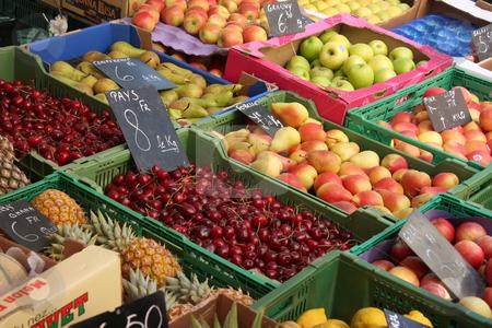 Fruit market stock photo, Fresh fruits for sale in farmers market by Kheng Guan Toh