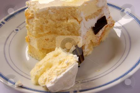 Vanilla cream cake stock photo, Vanilla cream cake with icing rectangular piece by Kheng Guan Toh