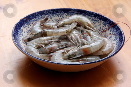 Raw prawns stock photo, Whole fresh raw prawns in shell unpeeled by Kheng Guan Toh
