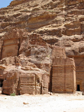 Ancient ruins in Petra stock photo, Ancient ruins in Petra, Jordan, Middle east by Roman Vintonyak