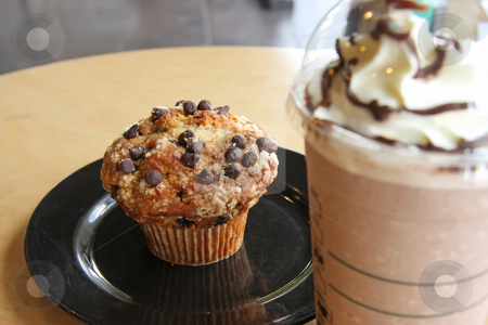 Chocolate chip muffin and coffee stock photo, Cup of iced coffee with muffin on plate by Kheng Guan Toh