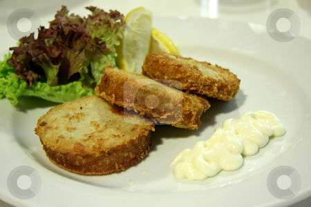 Crab cakes stock photo, Fried crab cake appetizers with lettuce and mayonaisse by Kheng Guan Toh