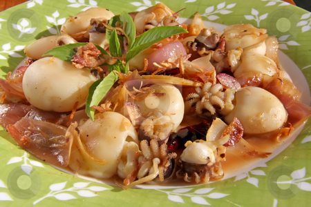 Spicy squid stock photo, Spicy squid traditional thai cuisine seafood dish by Kheng Guan Toh