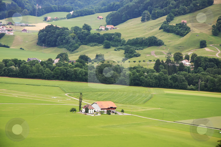 Farming countryside stock photo, Peaceful farming countryside in sumer, Gruyere region of Switzerland by Kheng Guan Toh