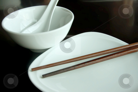 Chinese dining set stock photo, Chinese white porcelain cups plate and chopstick dining set by Kheng Guan Toh