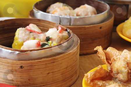 Chinese dimsum stock photo, Chinese steamed dimsum in bamboo containers traditional cuisine by Kheng Guan Toh
