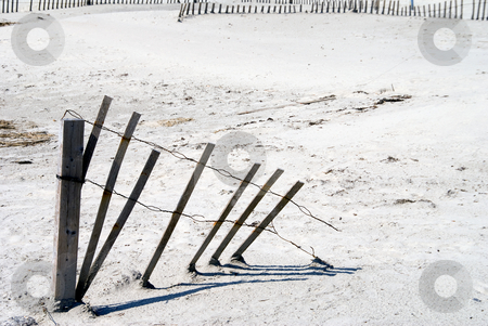 Beach Erosion Fence stock photo, A beach erosion fence in the sand at the ocean. by Robert Byron
