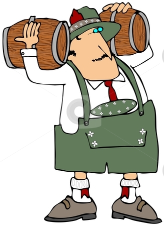 Oktoberfest Beer Man stock photo, This illustration depicts a man dressed in Bavarian attire carrying two wooden beer kegs. by Dennis Cox