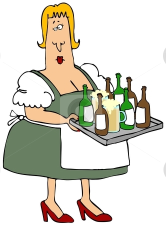 Beer Maiden stock photo, This illustration depicts a woman in Bavarian clothing carrying a tray full of beer bottles and glasses. by Dennis Cox