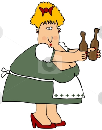 Beer Maiden stock photo, This illustration depicts a woman in Bavarian attire serving two bottles of beer. by Dennis Cox