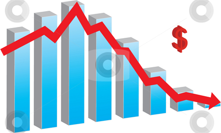 Financial Crisis stock photo, Bar chart representing financial crisis by Inge Schepers