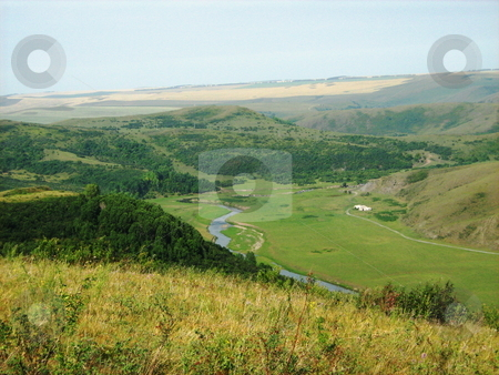 Hills stock photo, Nature: hills, river and trees. by Eugene Mikhalev