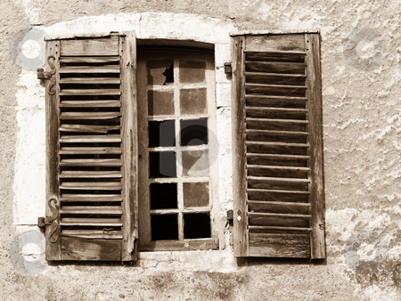 Old window stock photo, Old window in sepia tone by Laurent Dambies