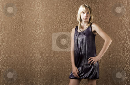 Young blonde girl stock photo, Blonde teenager ina sparkly party dress by Scott Griessel