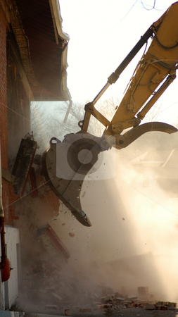 Excavator stock photo, Excavator demolishing a building by Will Burwell