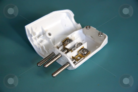 Open plug stock photo, Open plug, electrical connector, open with insides exposed, Swiss style by Kheng Guan Toh