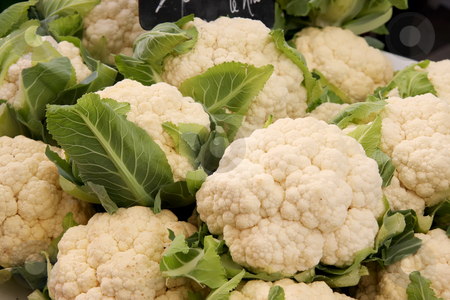 Whole cauliflower stock photo, Fresh whole cauliflower piled for sale in market by Kheng Guan Toh