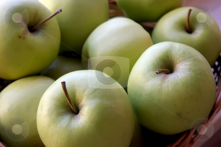 Green apples stock photo, Pile of fresh green apples in basket by Kheng Guan Toh