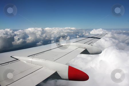 Aerial view stock photo, Aerial view from airplane with wing and panoramic landscape by Kheng Guan Toh