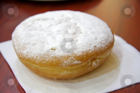 Powdered donut stock photo, Plain donut covered with powdered sugar sweet snack by Kheng Guan Toh