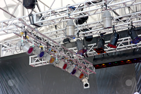 Stage lights stock photo, Stage lights attached by metal framework to top of theater by Kheng Guan Toh