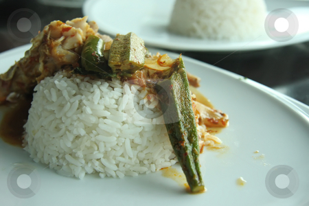 Fish curry rice stock photo, Rice with spicy fish curry and vegetables asian cuisine by Kheng Guan Toh