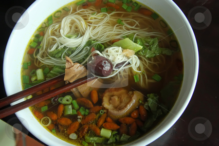 Herbal soup stock photo, Noodles in herbal soup traditional chinese cuisine by Kheng Guan Toh
