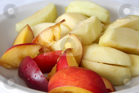 Fruit slices stock photo, Choppped fresh fruit raw slices of apple and nectarine by Kheng Guan Toh