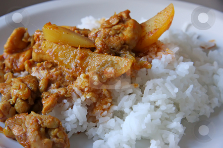 Chicken curry stock photo, Chicken curry with potatoes and gravy on rice by Kheng Guan Toh