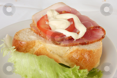 Ham sandwich stock photo, Open faced ham sanwich on crusty bread with tomato and lettuce by Kheng Guan Toh