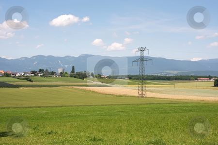 Countryside electricity stock photo, Electrical power cables in European farming countryside by Kheng Guan Toh
