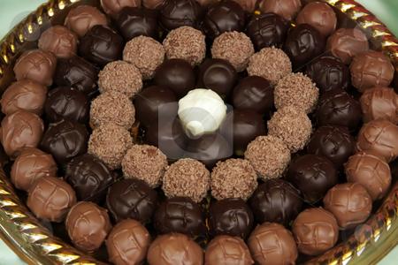 Chocolate truffles stock photo, Fancy chocolate truffle balls arranged in circles by Kheng Guan Toh