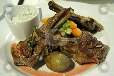Lamb chop stock photo, Grilled lamb chop with brocolli and vegetables by Kheng Guan Toh