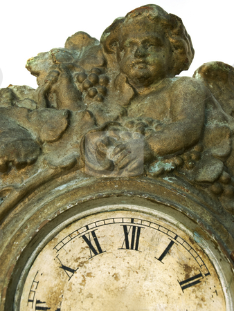 Angel in time stock photo, Clock without pointers and angel represent eternity or immortality. by Sinisa Botas