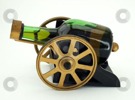 Boozy cannon stock photo, Bottle with alcohol drink like vintage cannon on a clear background. by Sinisa Botas