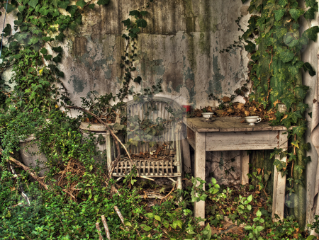 Forgotten proch stock photo, Old abadoned house porch in