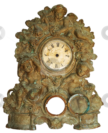 Anitique colock stock photo, An ancient clock without pointers isolated from background by Sinisa Botas
