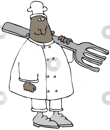 Chef With A Giant Fork stock photo, This illustration depicts a chef with a giant fork on his shoulder. by Dennis Cox