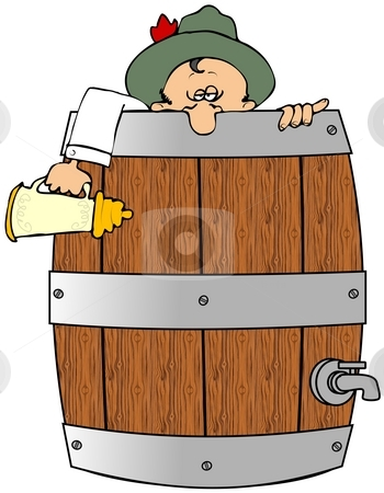 Drunk In A Barrel stock photo, This illustration depicts a drunk man peering out of a beer barrel. by Dennis Cox