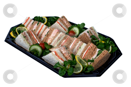 Business lunch stock photo, Platter of sandwiches cut into triangles, prepared on a tray for a business lunch by Paul Phillips