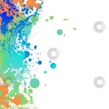 Inky border pale stock photo, Colourful ink splat background with room to add your own copy by Michael Travers