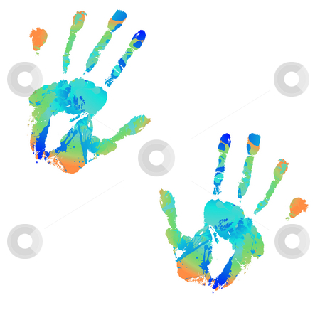 Hand bright subtle stock photo, Brightly coloured hand print with ink splats illustrations by Michael Travers